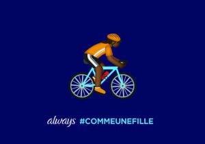 #LikeAGirl 2.5_Postcard_Girl Emoji Biker_FR