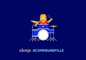 #LikeAGirl 2.5_Postcard_Girl Emoji Drummer_FR