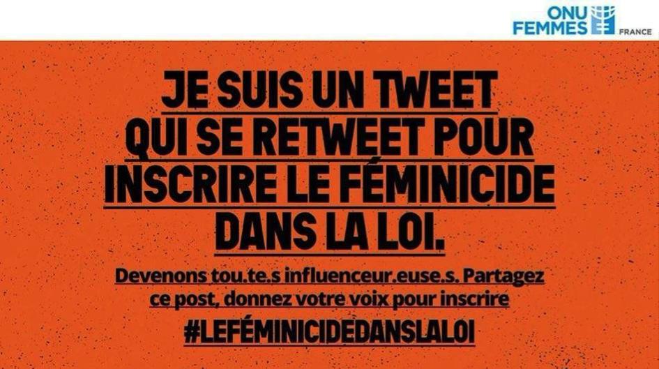 """Campagne #leféminicidedanslaloi """"je suis pour un tweet qui se retweet pour inscrire la féminicide dans la loi"""""""
