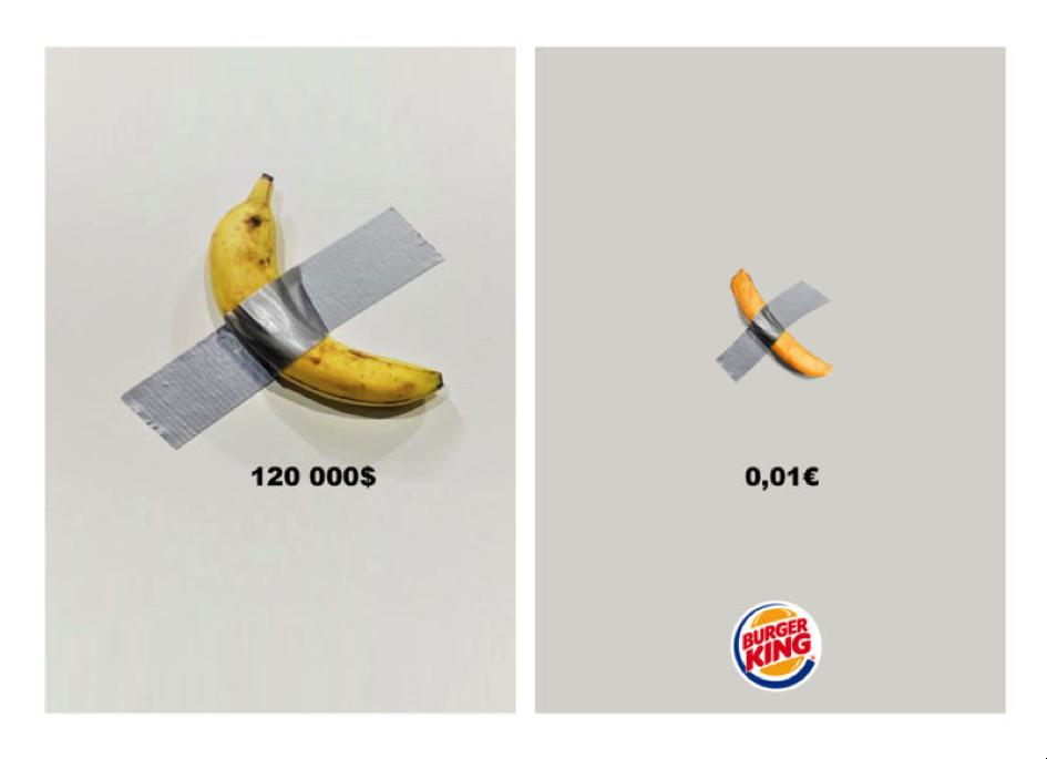 campagne burger : œuvre d'art de Maurizio Cattelan detournée en frite